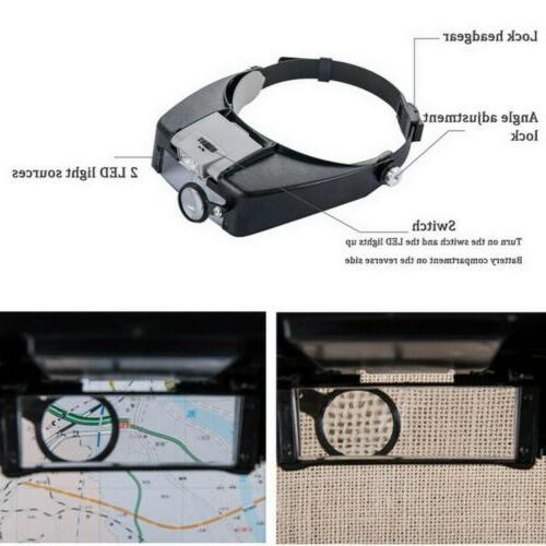 Jewelers Head Headband Magnifier LED Illuminated Glasses