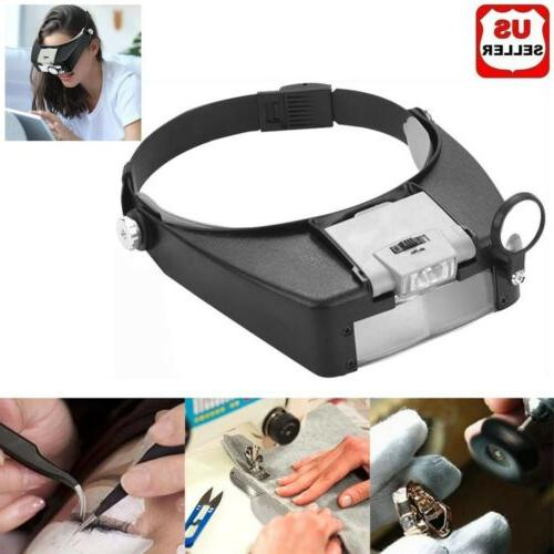 jewelers head headband magnifier led illuminated visor