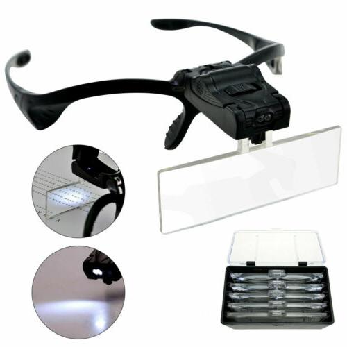 led head magnifying glasses headset with light