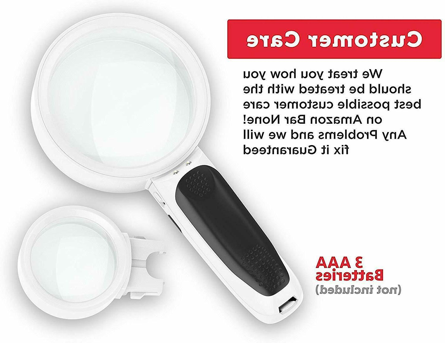 iMagniphy Magnifying Glass Best with Lights for
