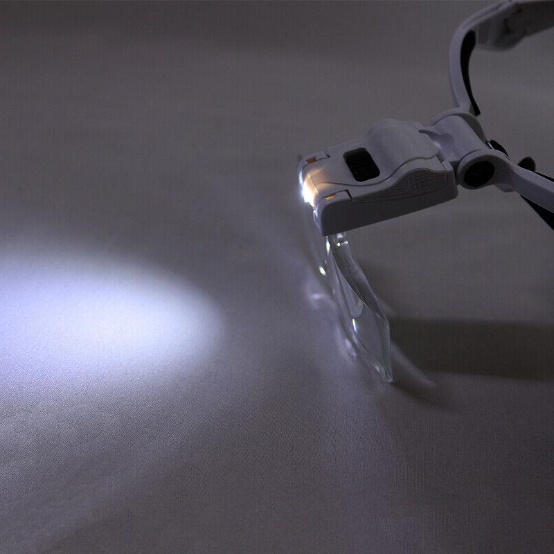 LED Jewelers Head Magnifier Illuminated Visor Magnifying Glasses