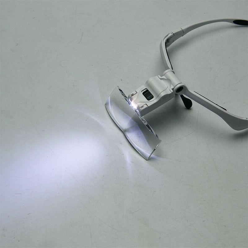 LED Jewelers Head Magnifier Illuminated Visor Magnifying Glasses Loupe