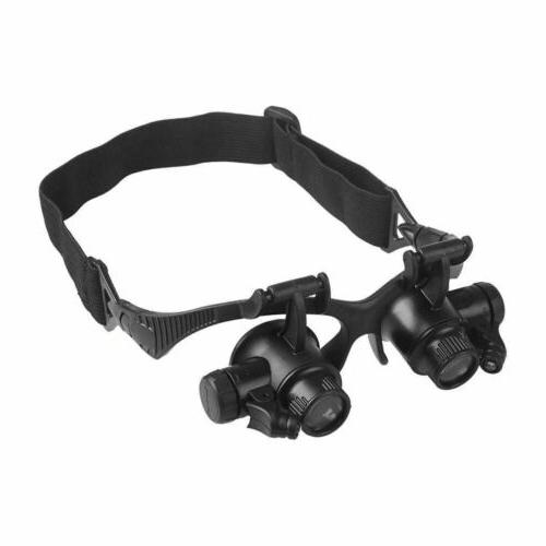 8 Lens Jewelry Repair Magnifier Loupe Glasses With LED Light