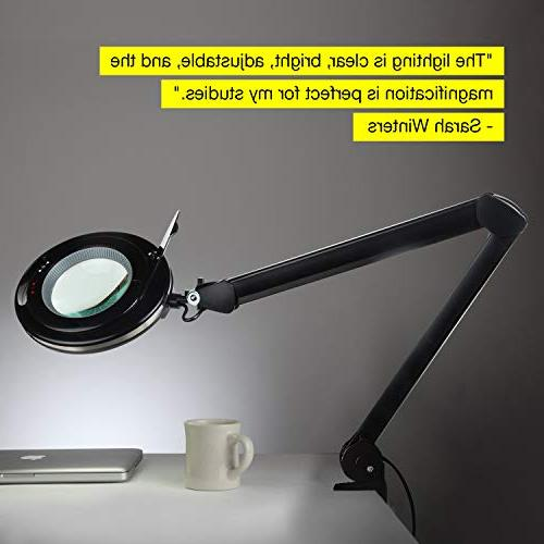 Brightech LightView LED 2.25x Desk Lamp for Close Work - Magnifier & Tasks Light Dimmable