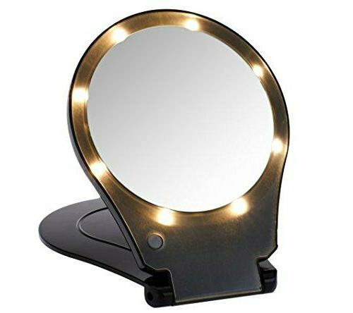 lighted folding vanity and travel mirror 5x