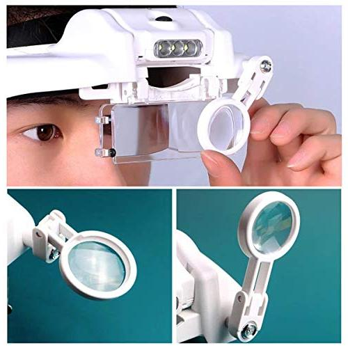 Lighted Head Magnifying Headband Magnifier Loupe Hands-Free for