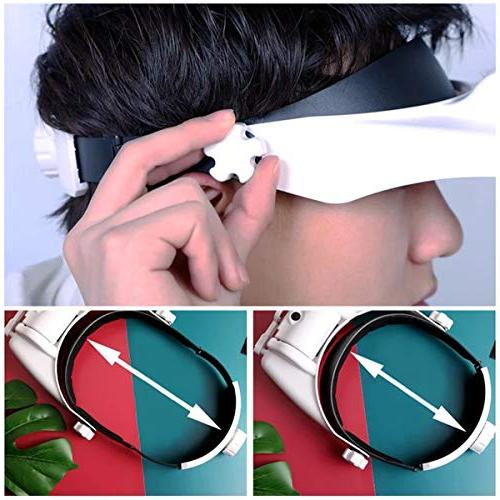 Lighted Head Visor Headset with Headband Magnifier Loupe Hands-Free for Close Work,Sewing,Crafts,Reading,Repair,Jewelry