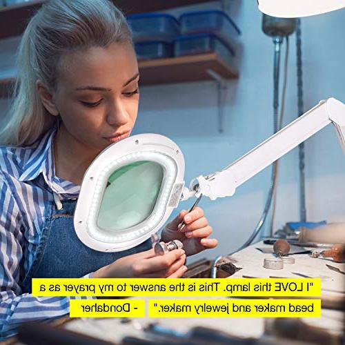 Brightech LED Lighted Magnifying - in Magnifier Converts from Floor to Table Light - 2.25x Bright Reading, Craft & Task White