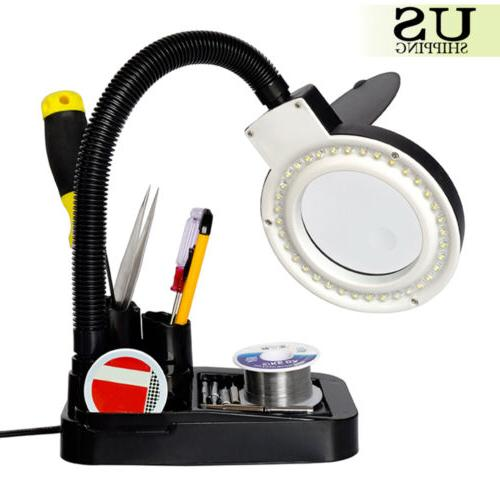 Magnifying Crafts Desk Lamp With 5X Magnifier With 40 Lights