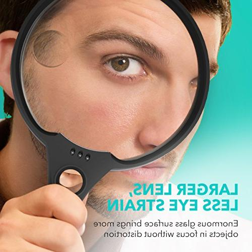 Magnifying Glass, UNIMI 5.5 Inch Large Magnifying Glass Light, 3 Illuminated 2X Magnifier 25X Held Magnifiers