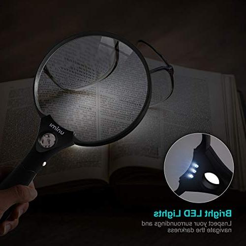 Magnifying Glass, Magnifying 3 Bright LED 2X Lens 4X 25X Hand Held Reading -