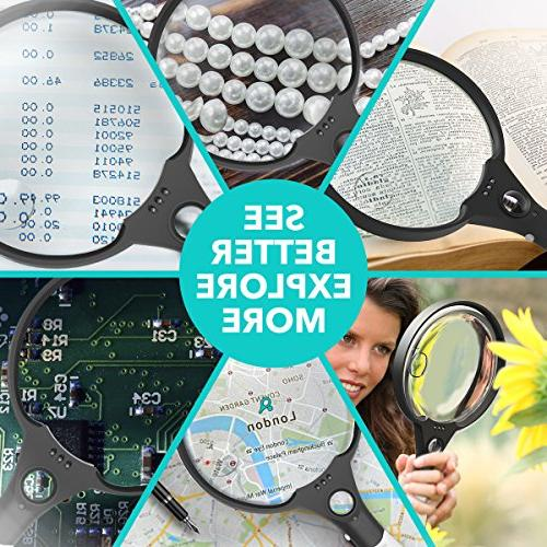 Magnifying 5.5 Inch Extra Magnifying Glass Light, 3 Illuminated 2X Magnifier 25X Hand Held Reading Black