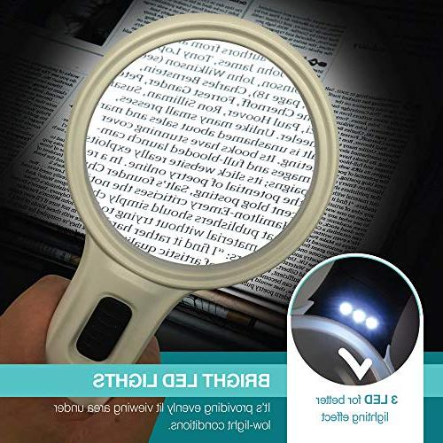 Magnifying Glass Ultra Bright LED MagniPros High for Reading, Jewlery, Craft & Hobbies