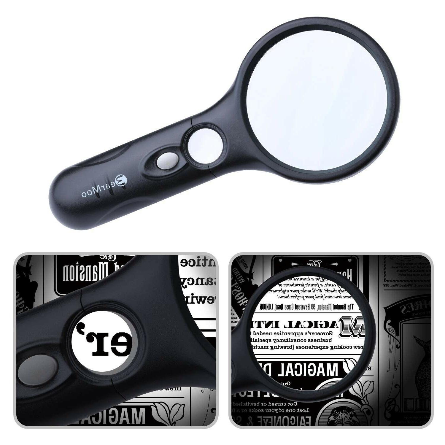 Magnifying Handheld Magnifier 3 Lights Visual Aids