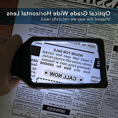 Horizontal Handheld Reading with Ultra Dimmable Lights- Large Area Ideal for Small Book, Newspaper, Low Vision