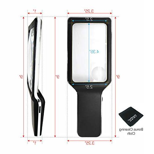 MagniPros 3X Large Horizontal Handheld Reading Magnifier Ultra Dimmable Lights- Viewing Ideal for Book, Maps, Vision