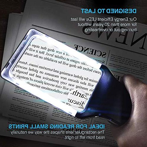 MagniPros Horizontal Handheld Magnifying Glass Reading with Ultra Dimmable Lights- Ideal for Small Book, Vision