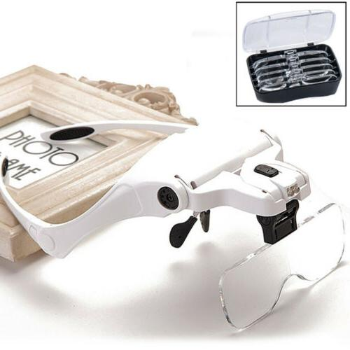 Magnifying Head Jeweler Bright Magnifier 5 Lens