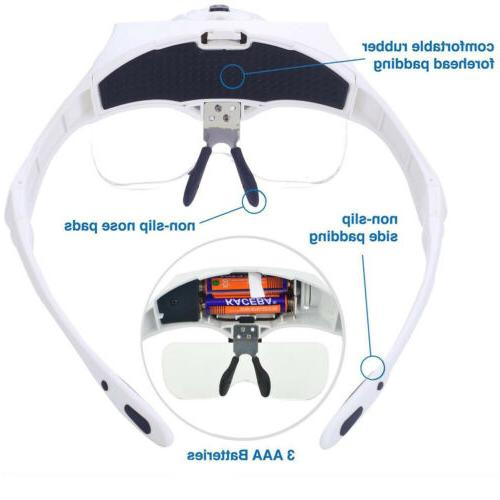 Magnifying Glass LED Head Loupe Bright with 5 Lens