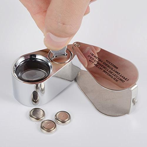 40X Illuminated Jewelry Loop Folding Magnifying Glass Eye Loupe with and UV