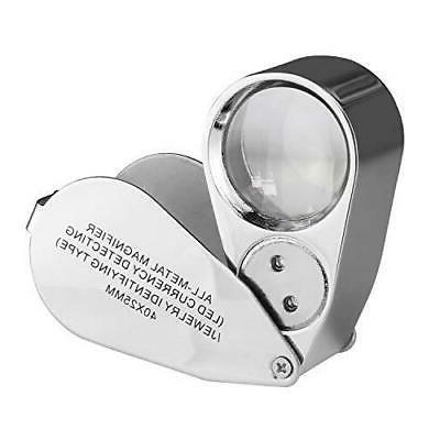 40X  LED UV Lens Loupe Magnifier with Metal Construction and Optical Glass