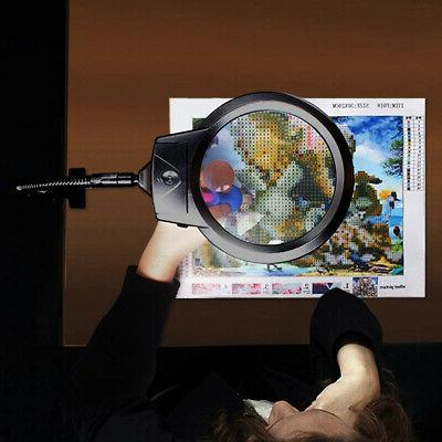 New Large Lighted Magnifier Glass with Clamp