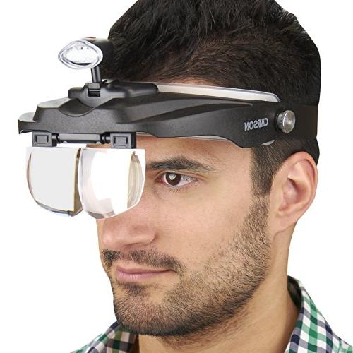 Carson Optical MagniVisor Head-Worn LED Lighted Different Lenses