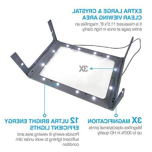 3X Full Magnifier with 12 Lights, Foldable Dual Ideal Reading, Vision, Seniors with