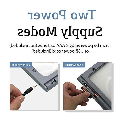 Magnifier with 12 Lights, Foldable Dual Power Ideal Hands Reading,
