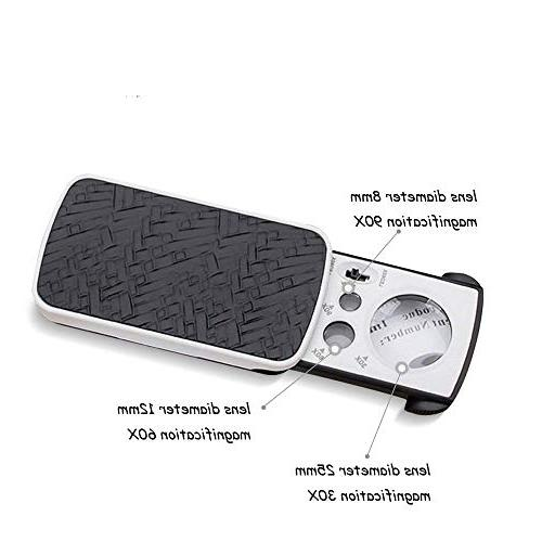 Pocket 30X Magnifier 1 Light Handheld Magnifying Professional Protective Glass Loupe Jewelry Stamps Watches