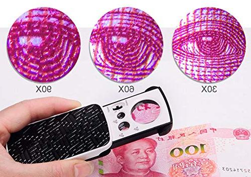 Magnifier with 2 LED Magnifying Professional Out Protective Glass Loupe for Jewelry Stamps Coins Watches