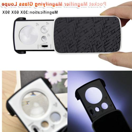 Pocket Magnifying Glass Loupe With Led 30X 90X Slide Out