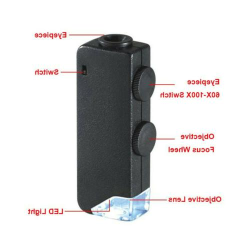 Portable 60-100x Microscope Magnifier Phone