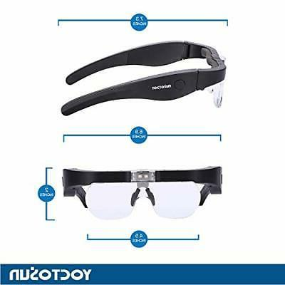 YOCTOSUN Rechargeable Glasses, Eyeglasses Magnifier with 2
