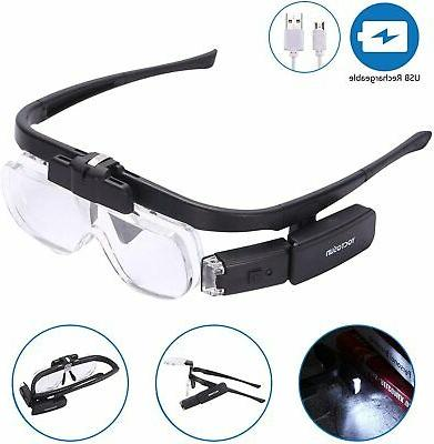 rechargeable head magnifier glasses hands free head