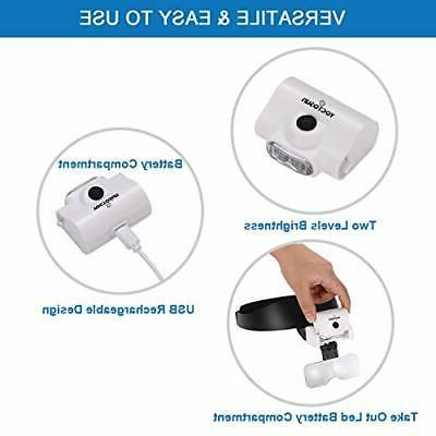 YOCTOSUN Rechargeable Headband Magnifier with and