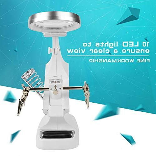 Repair Magnifier with Led Light Tabletop Magnifying Clamp Stand Soldering Holder
