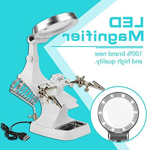 Repair Magnifier with Light Tabletop Glass Clamp Stand Soldering Holder