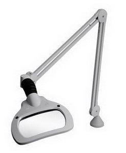 """Luxo WAVE LED Magnifier, 45"""" Arm, 3.5 Dio, Edge Clamp, Grey"""