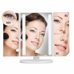 """Large 13X9"""" Tri-Fold Lighted Vanity Makeup Mirror with 36 LE"""