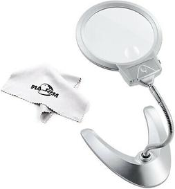 MSLAN Large 2X 5X LED Lighted Magnifier with Stand - Folding