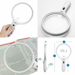 YOCTOSUN Large Magnifying Glass with Light 1.8X Lens 5X Zoom