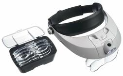 LED ADJUSTABLE HEADBAND JEWELER MAGNIFIER WITH 5 LENSES-1X,1