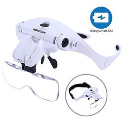 YOCTOSUN LED Head Magnifier, Rechargeable Hands Free Headban