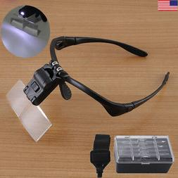 LED Headband Magnifier Magnifying Eye Glasses 5 Replace Lens