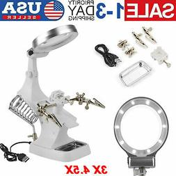 LED Helping Hand Clamp 3x 4.5x Magnifying Glass Soldering St
