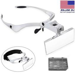 LED Jewelers Head Headband Magnifier Illuminated Visor Magni