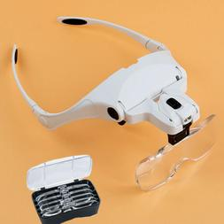LED Light Lamp Visor Head Magnifying Glass Lens Loupe Jewele
