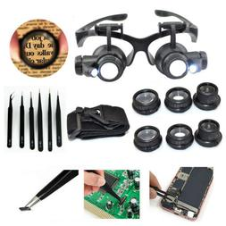 LED Lighted Jeweler Loupe Head Magnifier Hands Free Magnifyi