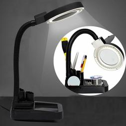 LED Lighting Desktop Table Desk Flexible Lamp 5x 10x Magnifi
